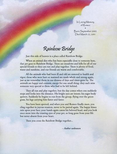 Personalized Pet Loss Rainbow Bridge Memorial Poem Also Makes Nice Gift